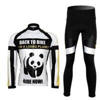 Nouveau Panda Vélo Vélo Vélo Vêtements Hommes Sportwear Manches Longues Jersey séchage rapide Veste + (Bib) Shorts Costume
