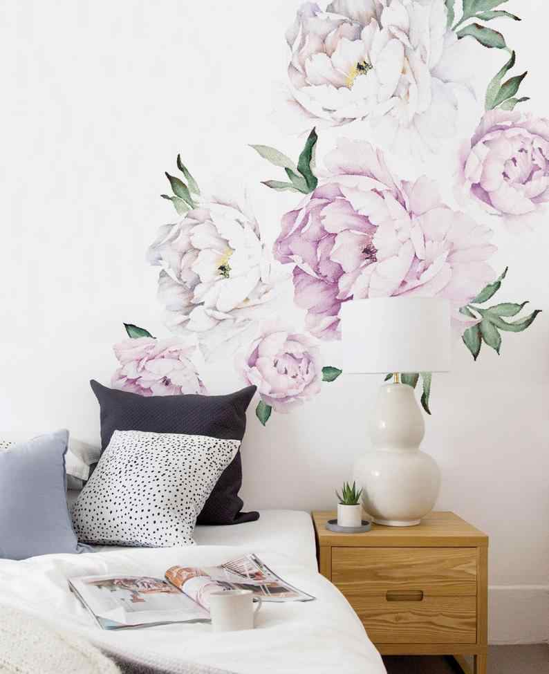 Peony Flowers Wall Sticker Vintage Lilac Watercolor Peony Wall Stickers Peel and Stick Removable Stickers room decoration decor