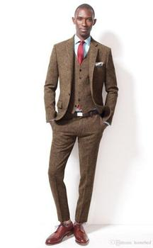Fashion Two Buttons Brown Tweed Groom Tuxedos Groomsmen Notch Lapel Mens Suits Blazers (Jacket+Pants+Vest+Tie) W:1269
