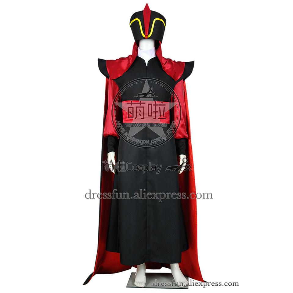 Aladdin And His Lamp Wizard Jafar Cosplay Costume Black Outfits Full Set Clothing Uniform Fast Shipping Fashion Christmas