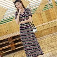 Italian Style Knitting Clothing 2018 Summer New Knitting Striped Dress High Waistline V necked Short Sleeve A line Dresses