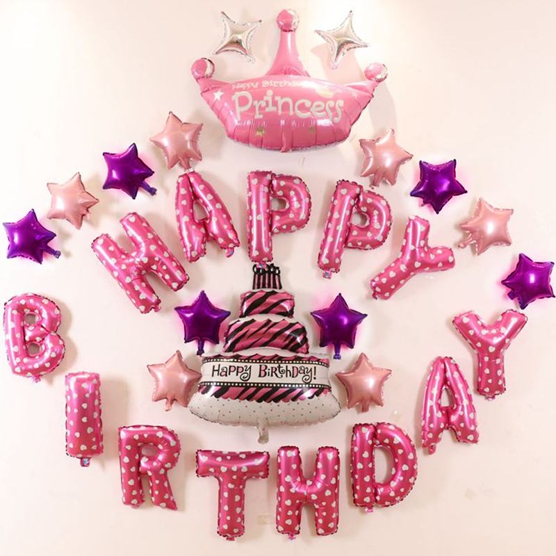 Colorful Foil Balloons Pink Happy Birthday Balloons Letter Kids Birthday Party i