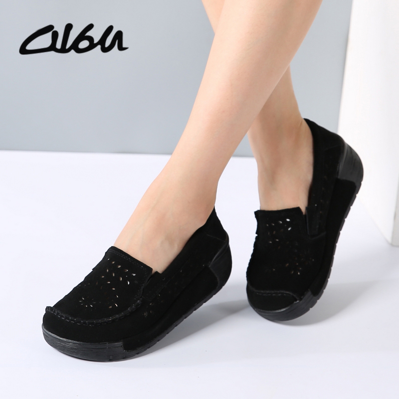 O16U 2017 spring women shoes platform shoes hand-sewn leather suede casual shoes slip on flats tassels creepers Laidis Shoes