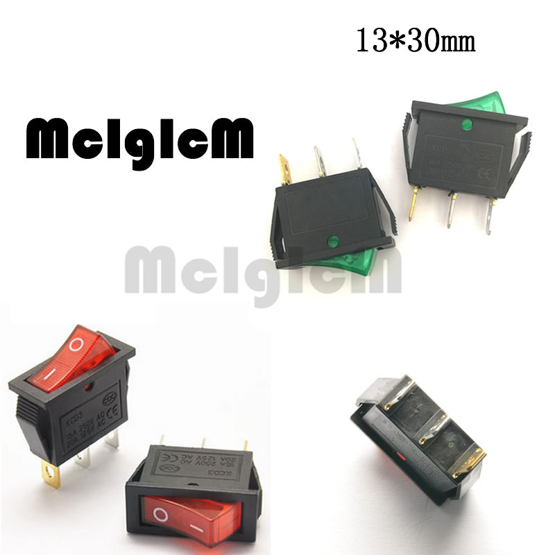 US $1 8 |5pcs Car Rocker Switch Green and Red Button ON OFF 3 Pin 15A 250V  AC / 30A 220V AC SPST with 12V AC LED Light 13*30mm-in Switches from Lights