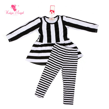 Kaiya Angel Baby Girl Clothes 2017 Fall Winter Girls Clothing Sets Black White Stripe Shirt Leggings Clothes Set Girl 1-8T
