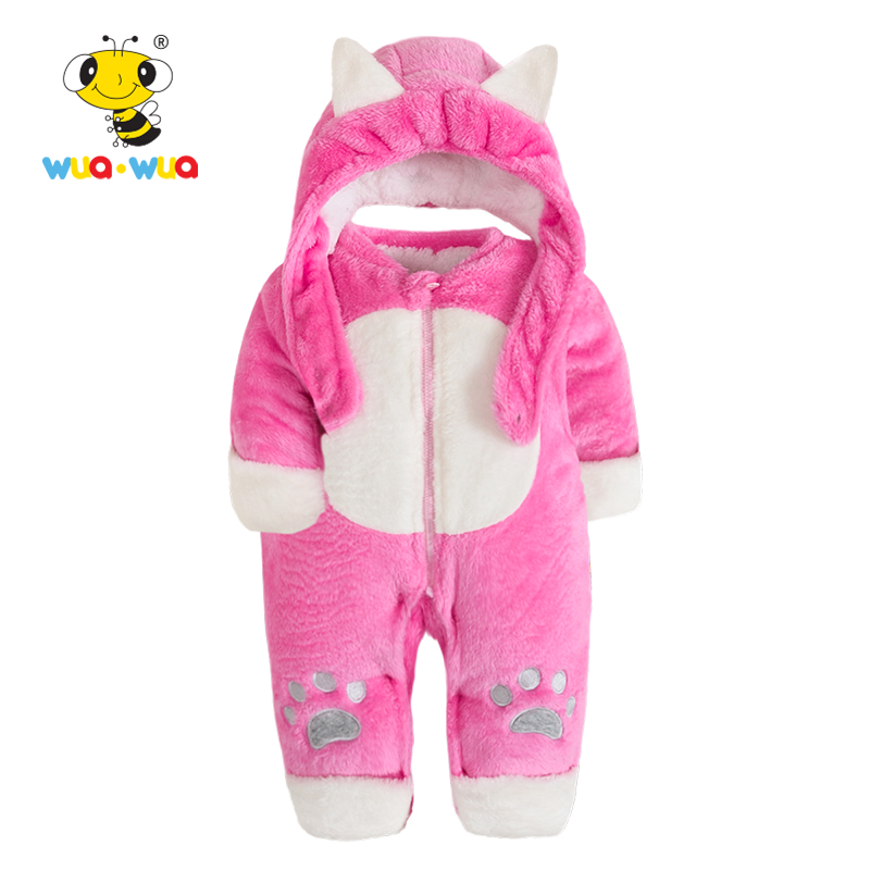 Wua Wua Baby Boy Girl Winter Velvet Romper Cute Children One-piece Overalls Plush Winter Newborn Jumpsuit Hooded Infant Clothes