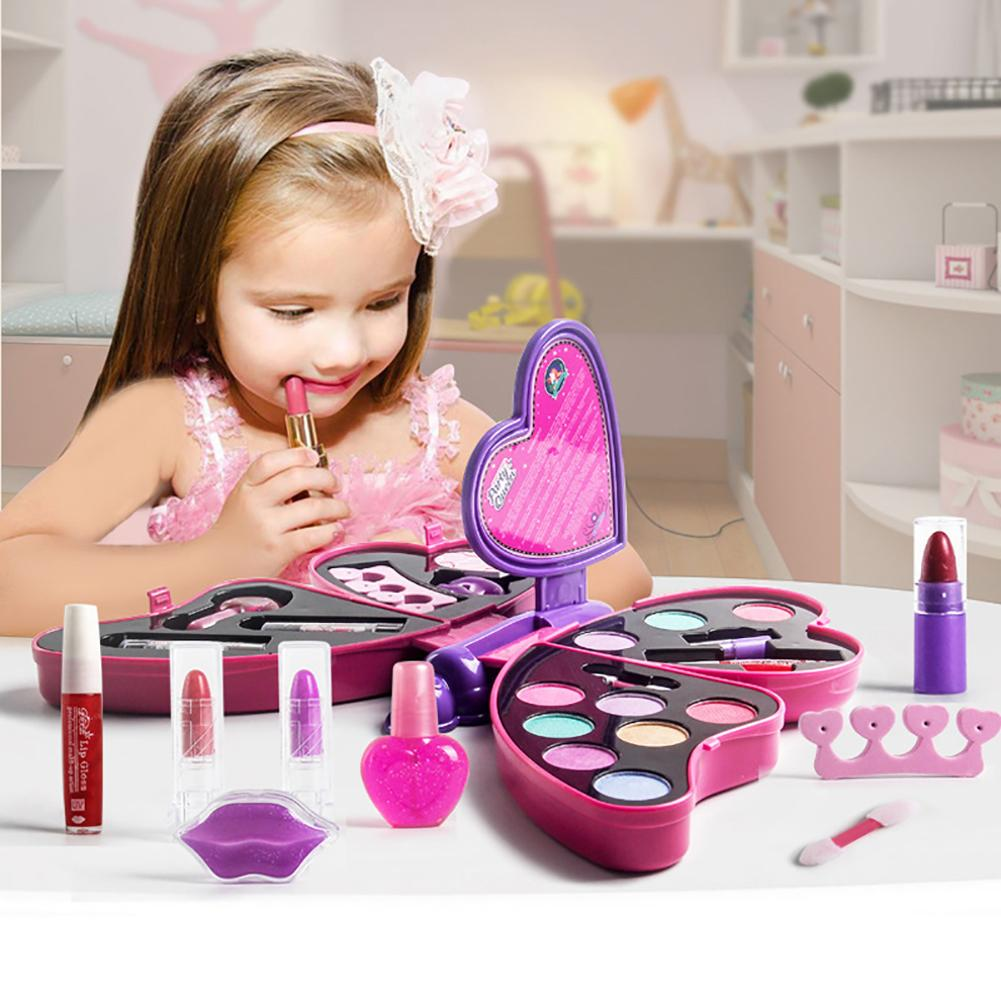 Girl Pretend Play For Kids Makeup Kit Toys Princess Girl Butterfly Shape Make Up Set Lipstick Eye Shadow Cosmetics For Kids Girl