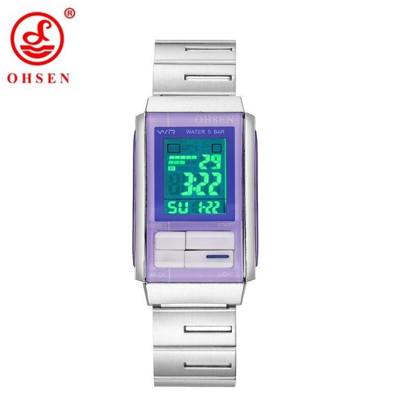 2017 Original Fashion OHSEN Women Digital Watches Female Full Steel Band Lady Watch LED 50m Swim Electronic Wrist Watch Relogio zeus watch