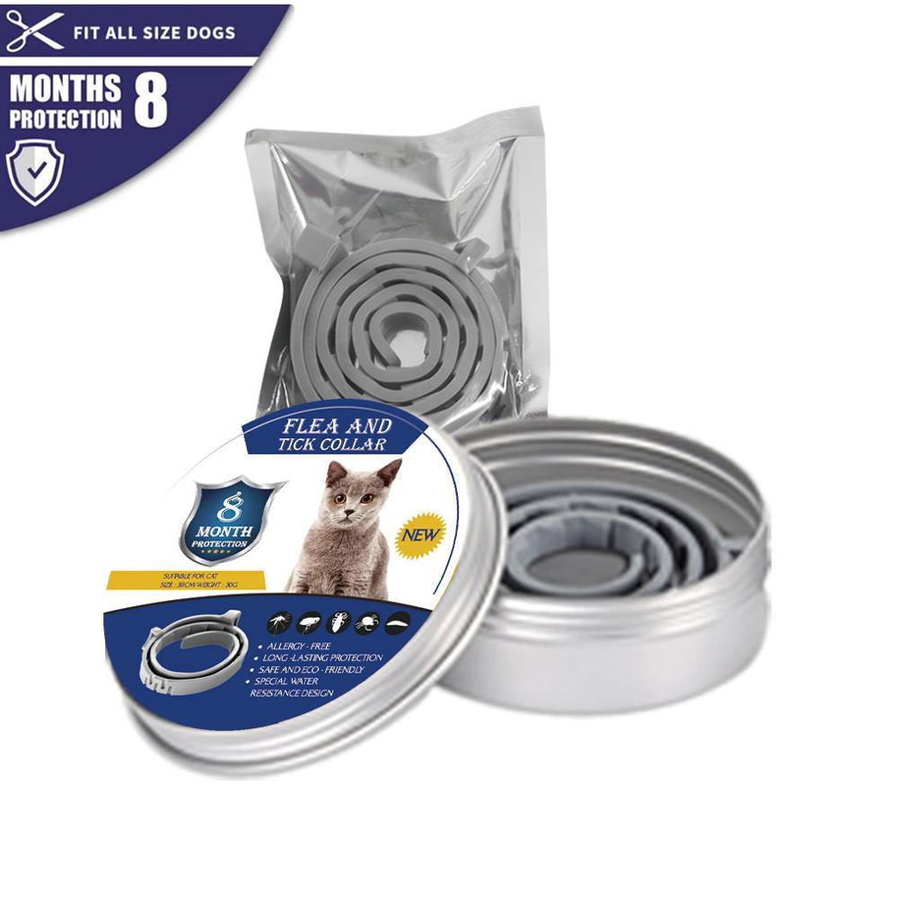 Nouveau collier pour chien chat Anti puces tiques moustiques extérieur réglable collier pour animaux accessoires pour chat 8 mois Protection à long terme