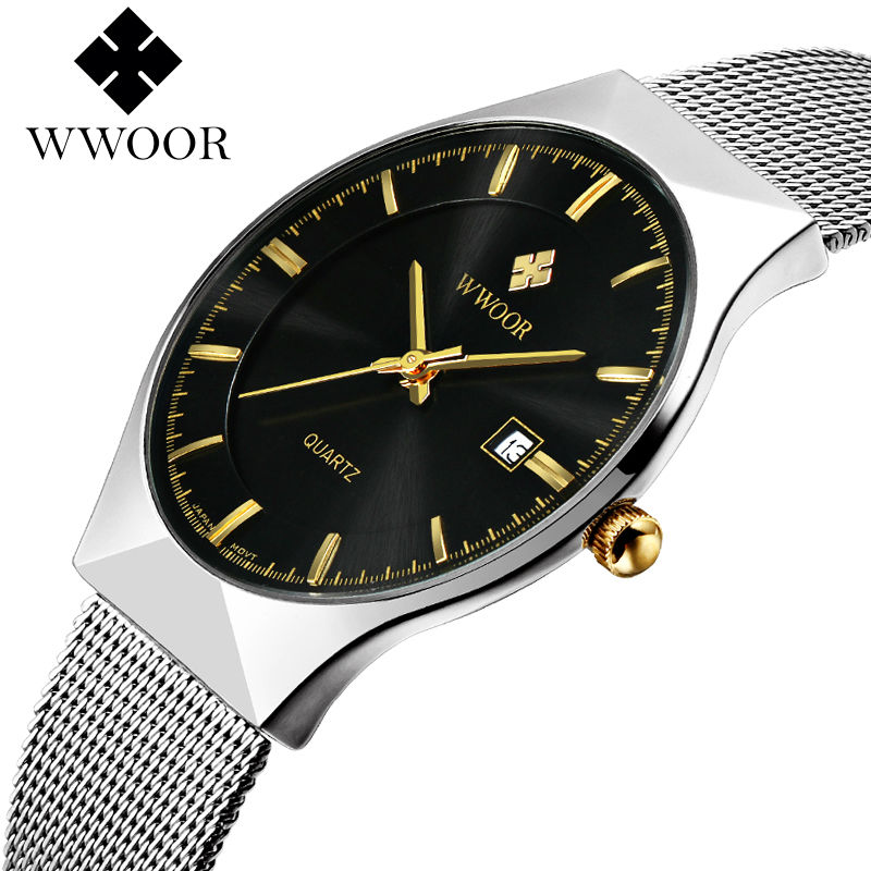 WWOOR New Top Luxury Watch Men Brand Men's Watches Ultra Thin Stainless Steel Mesh Band Quartz Wristwatch Fashion casual watches bosck top luxury watch men brand men s watches ultra thin stainless steel band quartz wristwatch fashion casual leather watches