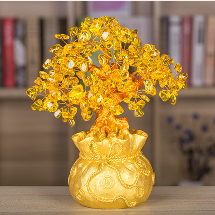 Lucky Tree Wealth Pretty Citrine Yellow Crystal Gem Tree Golden Lucky Tree Wealth Pretty Citrine Yellow Crystal Gem Tree Golden