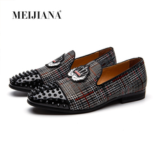 Classy Glitter Spikes Rhinestones Mens Flat Loafers Shoe