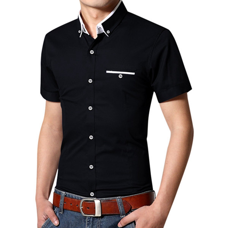 Popular contrast collar dress shirts for men buy cheap for Cheap slim fit shirts