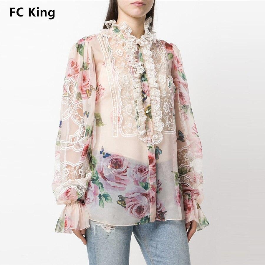 Blusa Picture Mujeres Perspectiva Elegante 2018 Stand Encaje Fc Vintage Tops Sexy Color Rey Otoño De Cuello Bordado Patrón Camisa Rose Nuevo 85BqH