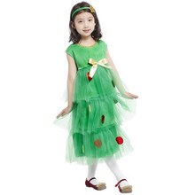 7 Sets lot Free Shipping Kids Girls Christmas Tree Costumes Carnival Halloween Masquerade Fancy Dress Children