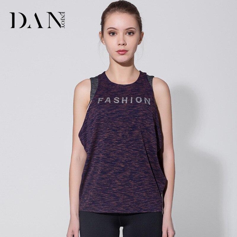 @1  DANENJOY Женская футболка Дышащие кроссовки Одежда Quick Dry Спортивная одежда Фитнес без рукавов с  ①