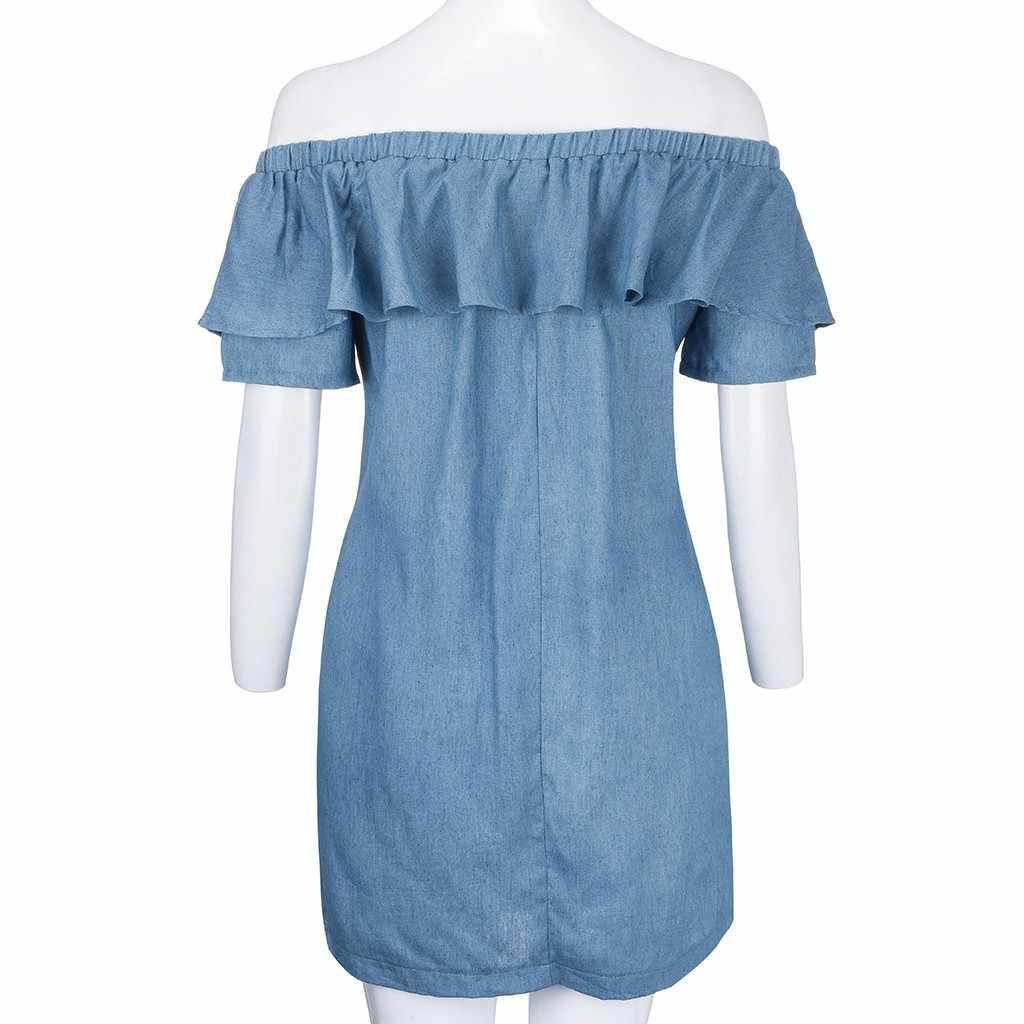 Пляжное платье для женщин с открытыми плечами в полоску оборками Пояса killerтуника элегантные дамские платья рукавом бабочкой пикантные Vestidos