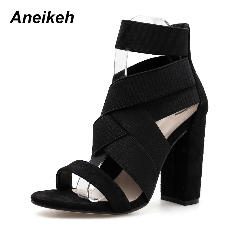 Women Open Toe Chunky High Heel Platform Pump Sandal Elastic Stretch Ankle Strap