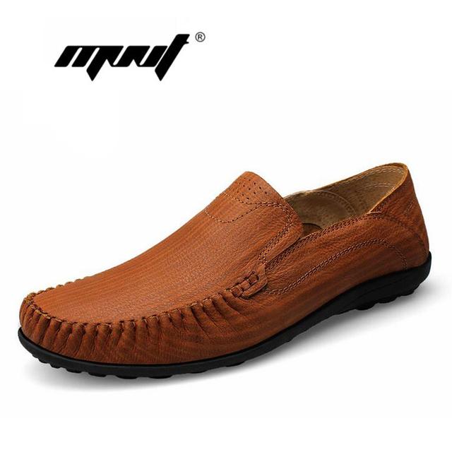 Zapatos de Los Hombres de Cuero genuino de la Vaca, La nueva Manera Más El Tamaño de Los Hombres de Los Holgazanes Mocasines, Calidad de Los Hombres ocasionales Zapatos de Los Planos zapatillas hombre