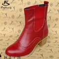 Genuine leather fashion british style 2017 vintage carved women boots martin boots thick heel handmade elastic strap ankle boots
