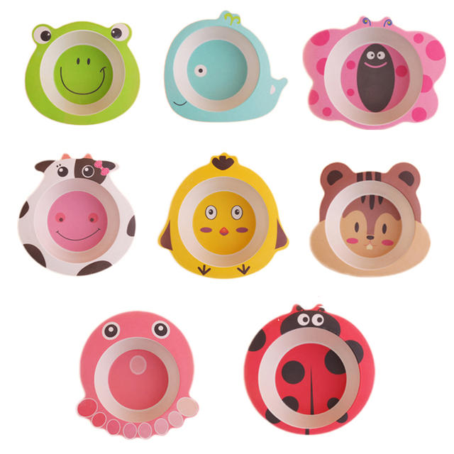 US $9 02 38% OFF|Cartoon Animal Shape Children Bamboo Fiber Rice Bowl  Environment and Healthy Food Tray Cutlery Fruit Snack Bowl Tableware 1pc  -in