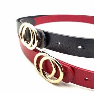 Image 4 - Luxus Frauen Echte Echtem Leder Gürtel Gold Doppel Ring Runde Schnalle Gürtel Für Jeans Hohe Qualität Designer Strap Schwarz Rot pasek