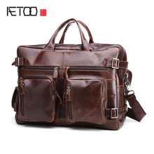 AETOO Vintage Genuine Leather Men Bags business Laptop Briefcase Portfolio Fashion crossbody Men's Messenger Bags Men's Travel