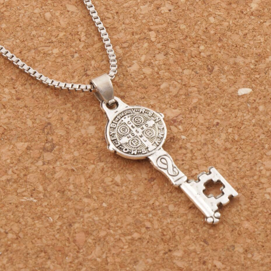 "Saint Benedict Medal Cross Key Pendant Necklace Necklaces 24"" N1640 Antique Silver"