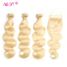 Alot 613 Blonde Hair Bundles With Closure Brazilian Body Wave Blonde Hair Weave Bundles With Closure Remy Hair Extensions 4 Pcs(China)