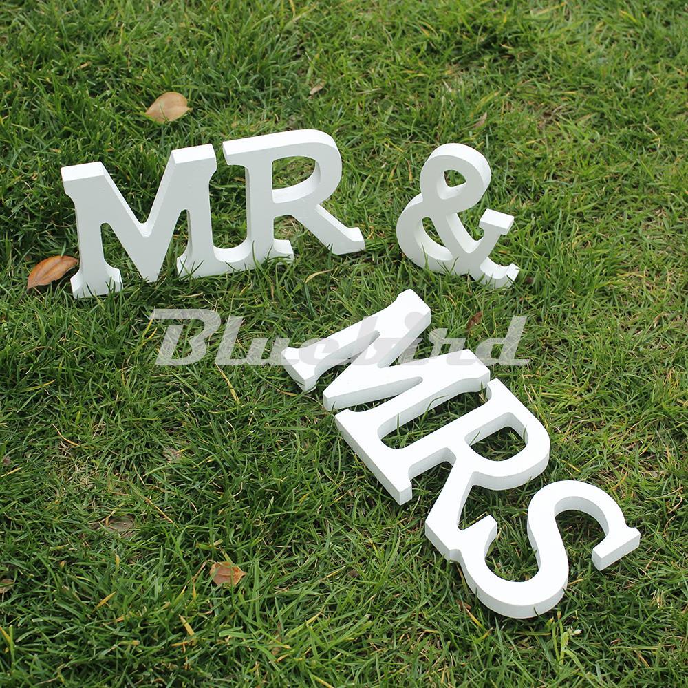 Mr & Mrs деревянные буквы для Свадебные Украшения знак столешницы настоящее украшение 1 компл. Твердые Бесплатная доставка
