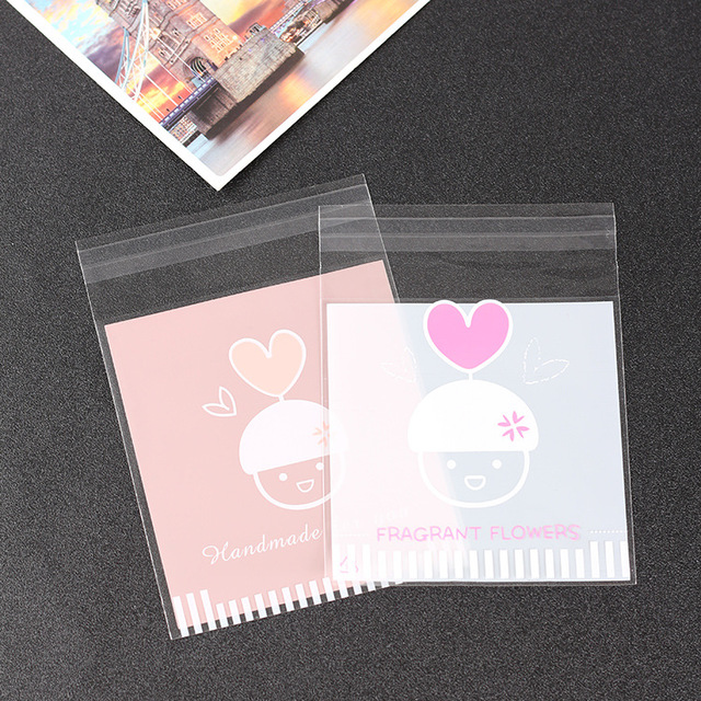500pcs Handmade Printed Cellophane Biscuit Bags Wedding Cookie Plastic Candy Bag With Self Adhesive Packaging