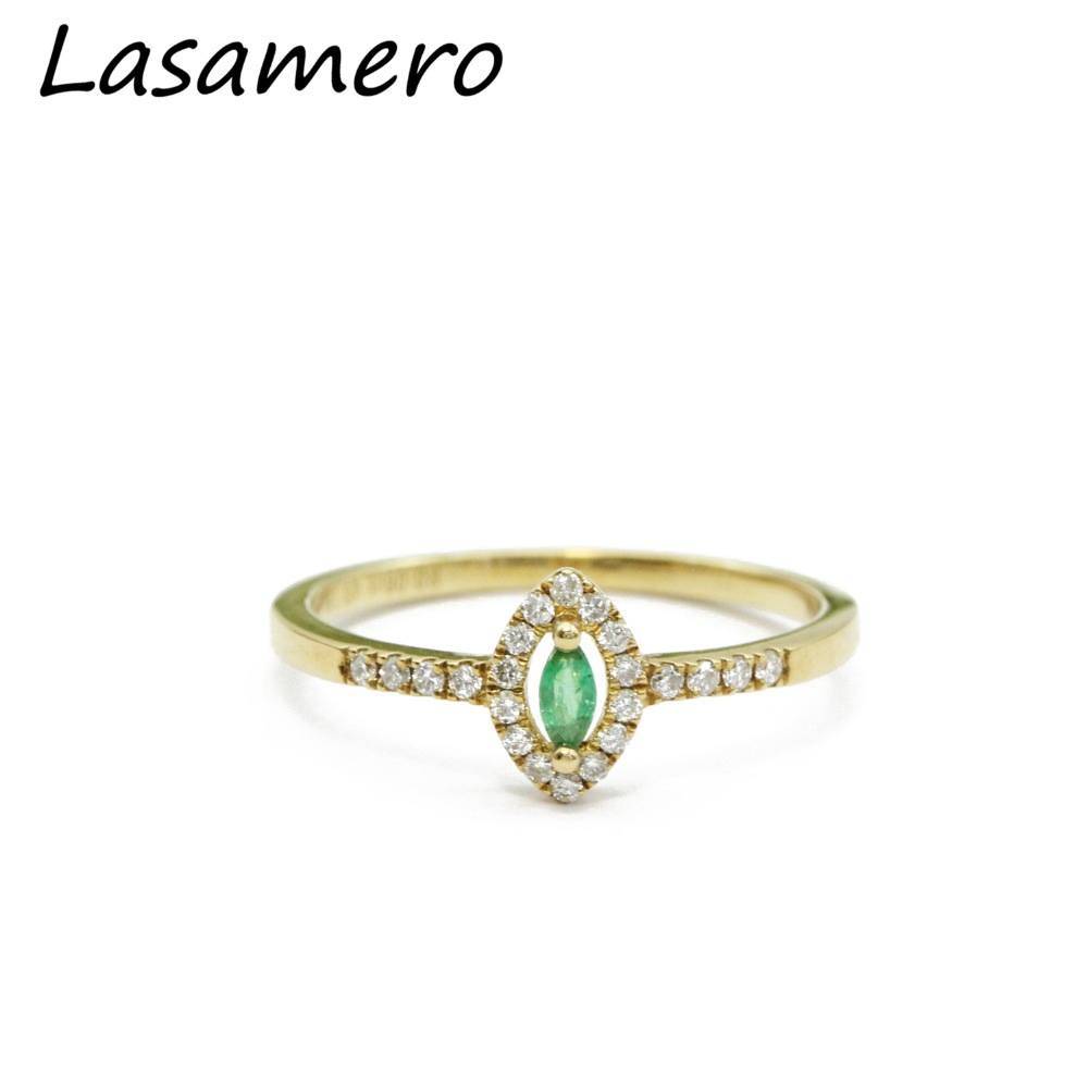 LASAMERO Marquise Cut 0.06ct Natural Emerald Gemstone 18k Rose Gold Vintage Halo Diamond Accents Promise Ring