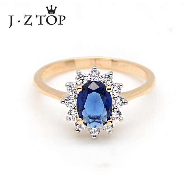 13be2468ec7 JZTOP Clássico Azul Zircão Anel De Flor de Cristal Anéis de Casamento Para  A Mulher De Luxo Senhora Encantos Rosa de Ouro Cor de Jóias Anillos MujerR   16
