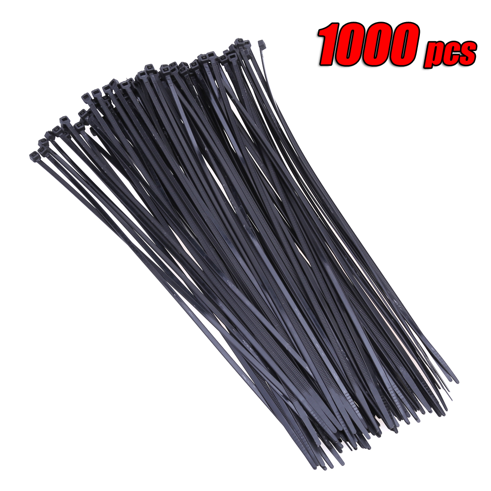 Wholesale 1000pcs 300mmx3.6mm 12 Nylon Plastic Zip Trim Wrap Cable Loop Ties Wire 40lbs Strength Capacity Self Lock self lock nylon cable wire ties black 1000 pcs