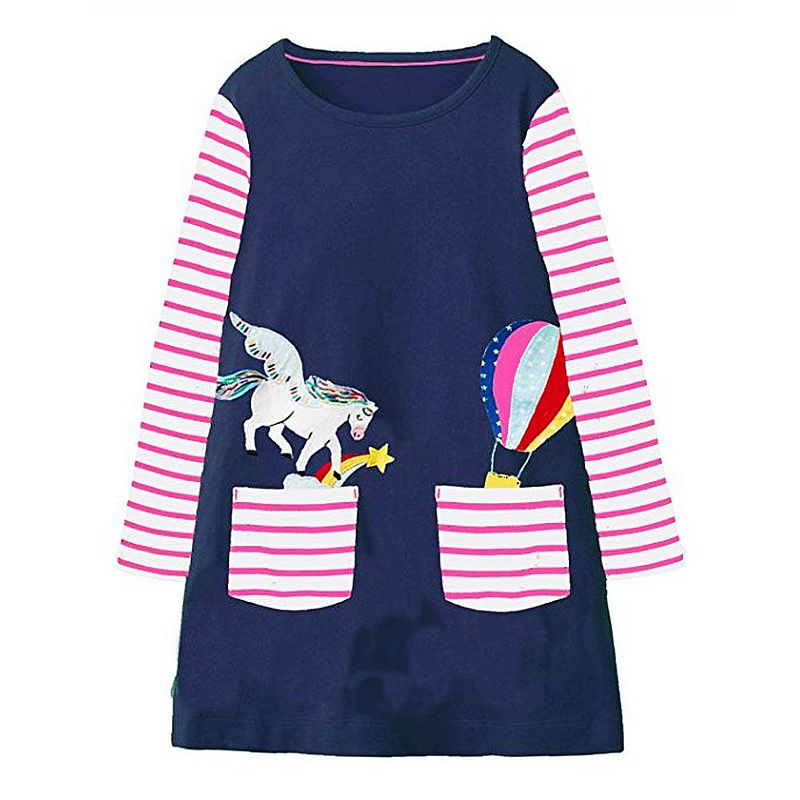Long Sleeve Dress Baby Girl Clothes Kids Christmas Dress Vestidos Unicorn Alpaca Animal Appliqued Girls Dresses Princess Costume w l monsoon baby girl dress long sleeve vestidos 2017 brand christmas dress with embroidery cotton autumn dresses kids clothes