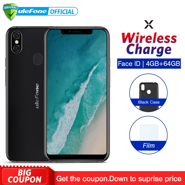 "Ulefone X 5.85"" HD+ Smartphone MT6763 Octa Core Android 8.1 4GB+64GB 16MP Dual Rear Cam Face ID 3300mAh Wireless Charge Phone"