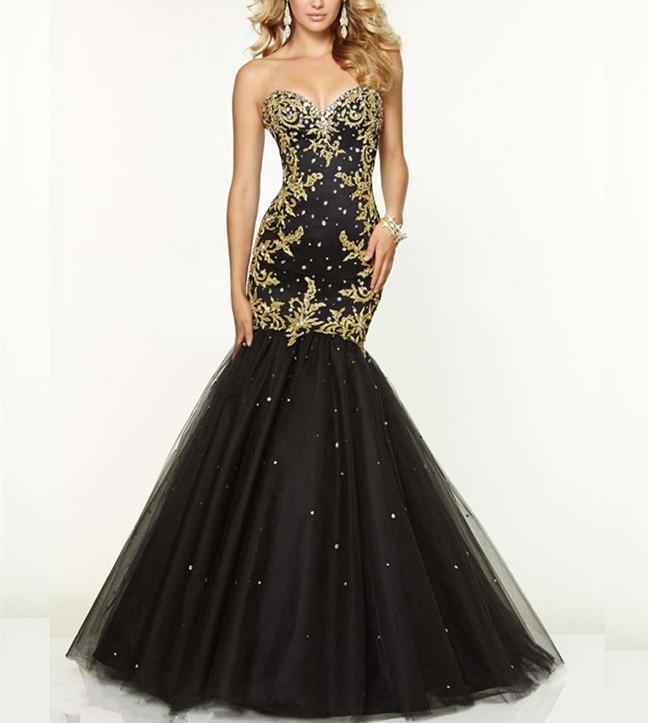 Vestido de Festa Sweetheart Beads Gold Embroidery Long Mermaid   Prom     Dress