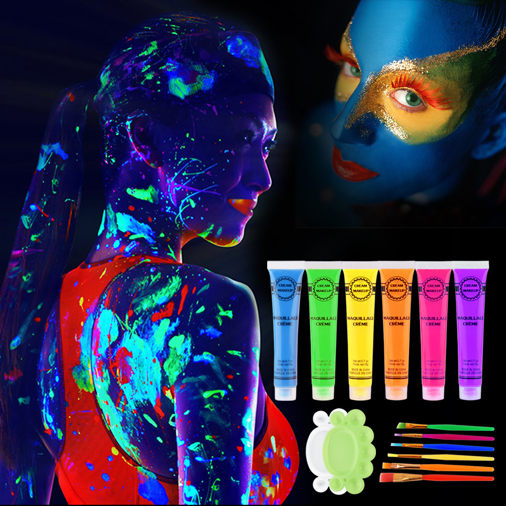 New Colorful Makeup Face Painting Halloween Environmental Body Painting Intense Neon Face Beauty Body Paint Dance Festival Rave