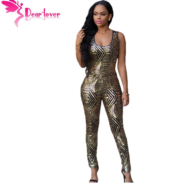61e164a9ed7 DearLover Sexy Ladies Summer Black Gold Geometric Sleeveless Long Sequin  Jumpsuit Romper Overall macacao largos de