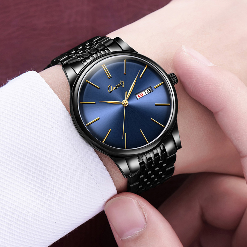 лучшая цена 2017 New Luxury Brand Business Watch Men Fashion Casual Waterproof Quartz Watches Men Simple Calendar Watch Relogio Masculino