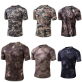 2016 NEW Summer Outdoor bionic Camo Top tatico Short Sleeve Combat Quick Dry Tee FBI Swat 7 color field Hunting Training T Shirt
