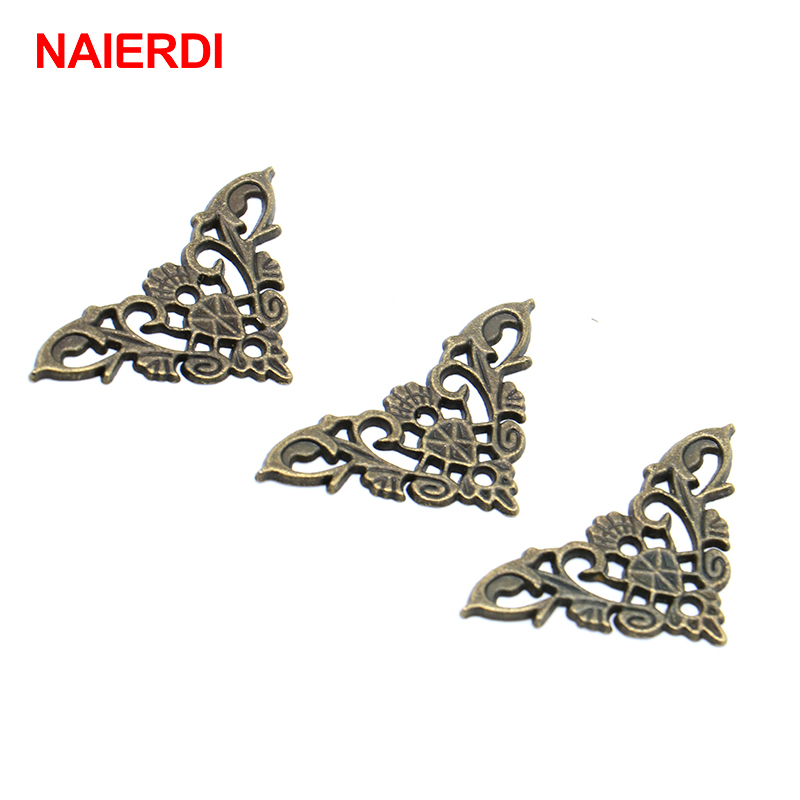 8PCS NAIERDI Jewelry Box Corner Protector Antique Frame Book Menus Butterfly Decoration Corner Bracket For Furniture Hardware