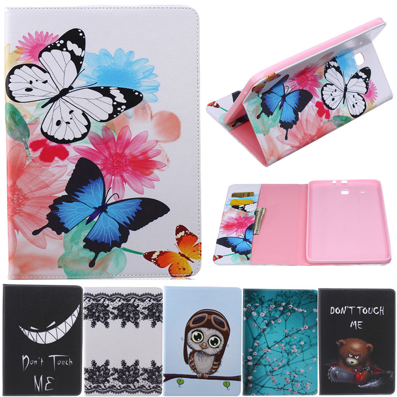Butterfly Owl Bear Cartoon PU Leather Flip Stand Cover Cases For Samsung Galaxy Tab E 9.6 T560 T561 Tablet Cover Case Fundas