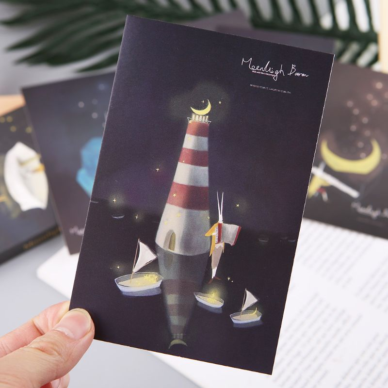 30pcs Vintage Luminous Postcard Glow In The Dark Moon Light Greeting Post Card Novelty Xmas Greeting Cards Gift 10166