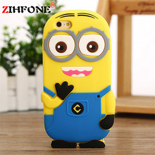 Cool Silicone Yellow Minions Cover  for iPhone 7 6 6S Plus 4 4S 5 5S SE