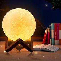 YWXLight Перезаряжаемые 3D печать Луны лампы 16 Цвет сенсорный выключатель светодиодный Спальня ночника Дети Home Decor Light креативный подарок