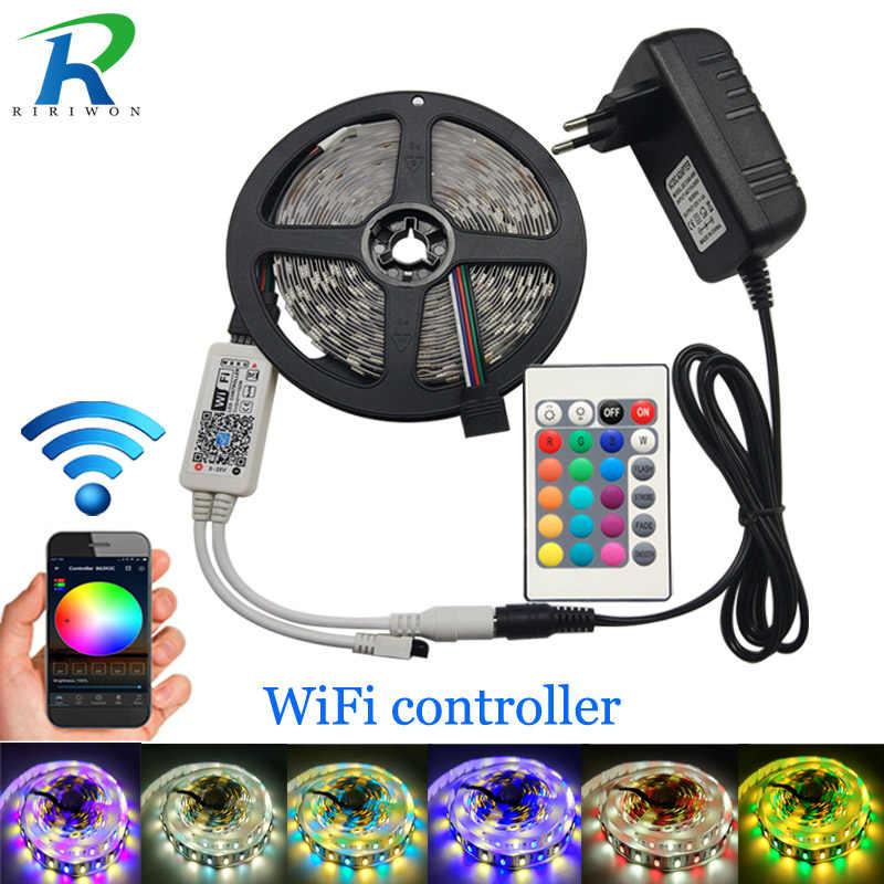 5 m taśmy LED 5050 RGBW DC 12 V elastyczne światło LED RGB + biały/RGB + ciepły biały 60 LED/m i WiFi 24Key kontroler 4A adapter
