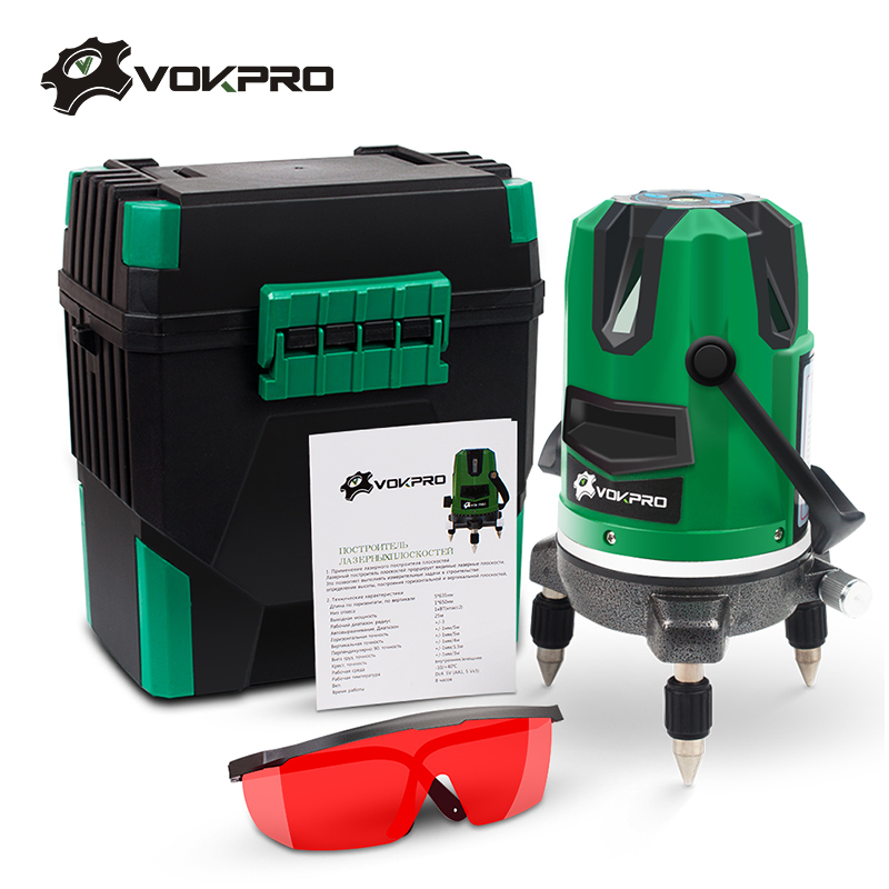 VOKPRO Laser Level 360 Rotary 5 Lines 6 Points Red Green Line Automatic Self Leveling Outdoor Can Use Receiver Tilt Auto Line