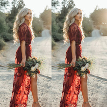 Women Lace Dress Fashion Half Sleeve Deep V-neck Vintage Red Split Maxi