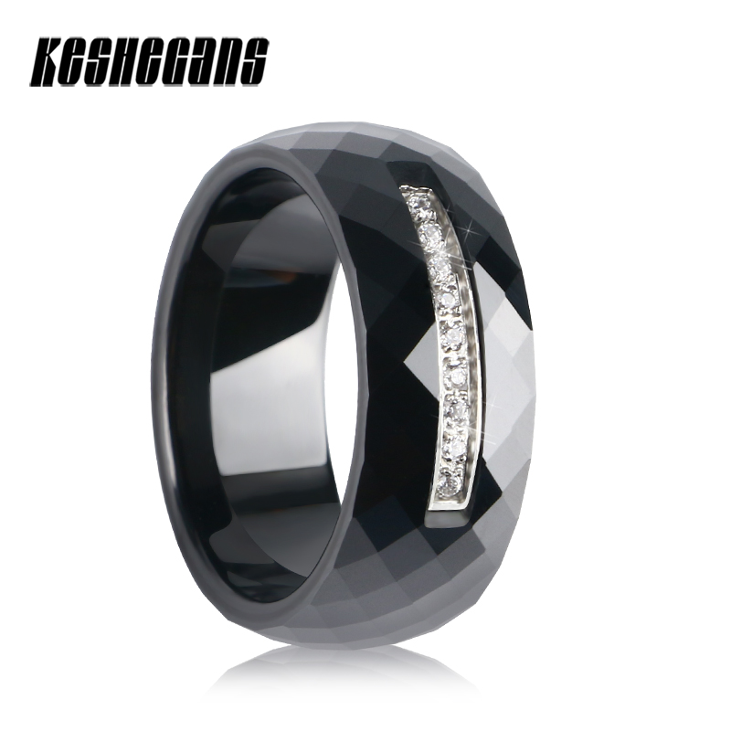 2018 New Arrive 8mm Wide Section Ceramic Ring Classic Black Color Women Fashion Jewelry Shining Crystal Weeding Jewelry For Gift